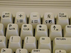 The Spanish edition of the Commodore C64c with different keys on the keyboard.