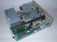 The inside of the Commodore PC 10-III computer.