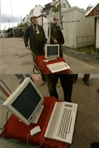 A Commodore C64c computer in the TV comedy: Åke från Åstol.