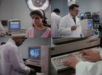 Several Commodore Amiga 1000 and 2000 computers, 1010 dsik drive and 1084 / 2002 monitors in the movie Bionic Showdown: The Six Million Dollar Man and the Bionic Woman.