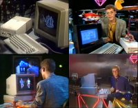 A Commodore C64c, Amiga 1000, Amiga 2000, 1541c, 1081 and GEOS in the TV show Computerzeit.