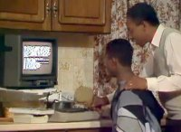 A Commodore C64 computer, 1702 monitor and a C2N datassette in the TV-series Desmond's.