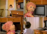 A Commodore C64 computer, a 1451 disk drive and a 1702 monitor in the film The Hugga Bunch.
