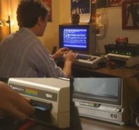 A Commodore C64 computer, 1541 disk drive and a 1701 monitor in the documentary In the realm of the Hackers.