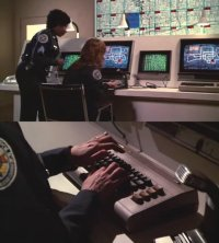 Commodore C64 and 1701 in Police Academy 3.
