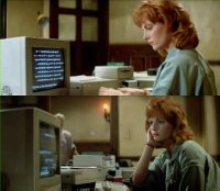 A Commodore Amiga 1000 computer, 1080 monitor and a 1010 external diskdrive in the movie Prince of Darkness.