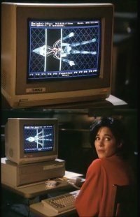 A Commodore Amiga 2000 computer and a 1080 monitor in the movie Puppet Master 2.