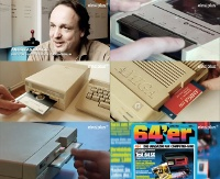 A Commodore C64 and Amiga 500 computer, 1541c and 1571 disk drive, Datassette, Competition Pro joystick and the 64er magazine in the TV program Reload.