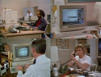 A Commodore Amiga 1000 and  a2000 computer with a 2002 and a 1084 monitor in the movie Shakma.