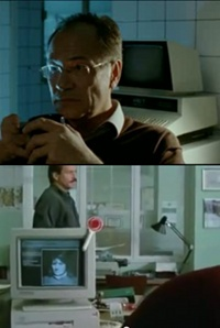 A Commodore PET 2001 computer, a Amiga 3000 computer an d a 184 monitor in the TV-series Tatort.