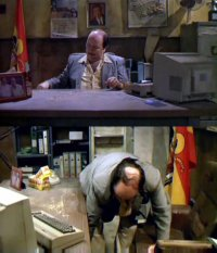 A Commodore C64 computer and 1084 monitor in the movie Torrente 2 - Mission in Marbella.