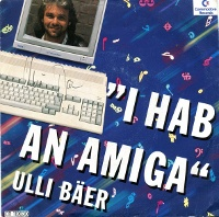 A Commodore Amiga 500 computer and a 1084 monitor on the cover of Ulli Bäer – I Hab An Amiga.